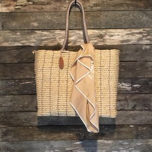 Old Navy Wicker Tote Bag & Scarf